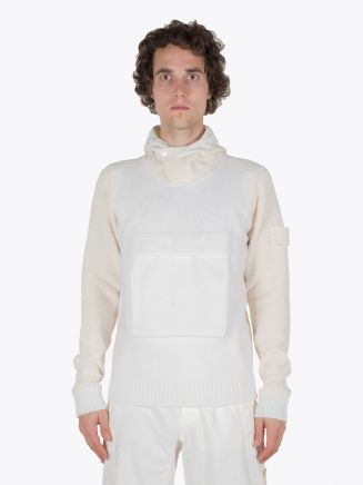 Stone Island 593FA Ghost Piece Hooded Knit Natural White 1