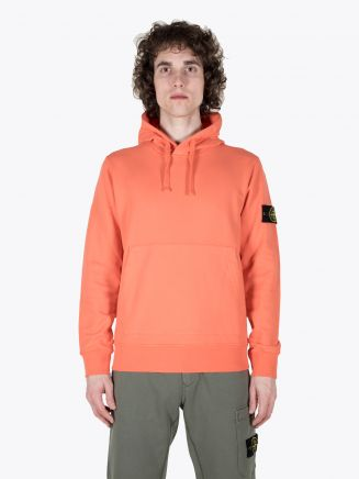 Stone Island 64151 Garment Dyed Hooded Sweatshirt Bright Orange 1