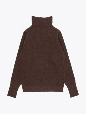 Andersen-Andersenl Wool Turtle Neck Sailor Sweater Natural Brown Front