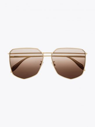 Alexander McQueen Metal Shield Piercing Frame Sunglasses Gold 1