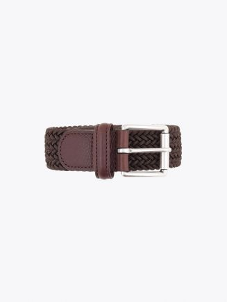 Anderson's Leather-Trimmed Elasticated Woven Belt Brown Front