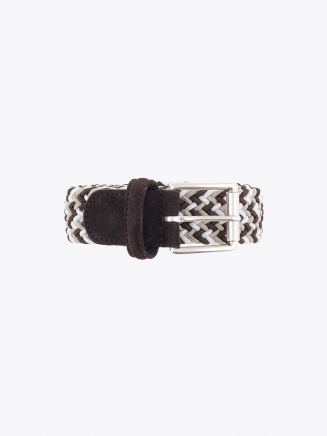 Anderson's Suede-Trimmed Elasticated Woven Belt Brown White Beige Front