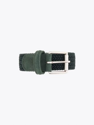 Anderson's Suede-Trimmed Elasticated Woven Belt Forest Green Front