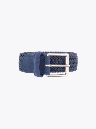 Anderson's Suede-Trimmed Elasticated Woven Belt Steel Blue Front