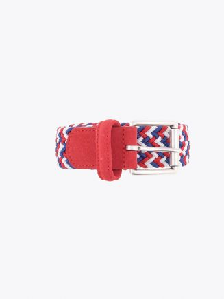 Anderson's Suede-Trimmed Elasticated Woven Belt White Red Blue Front
