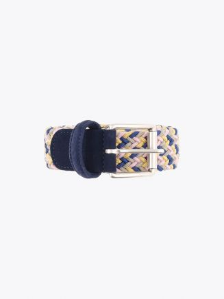 Anderson's Suede-Trimmed Elasticated Woven Belt Multicolor 44 Front