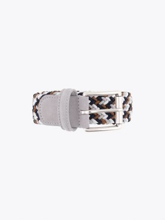 Anderson's Suede-Trimmed Elasticated Woven Belt Multicolor 36 Front