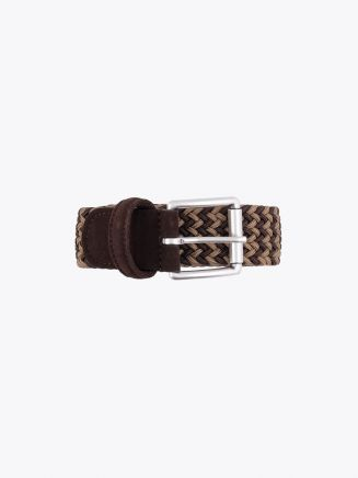 Anderson's Suede-Trimmed Elasticated Woven Bronze Brown Front