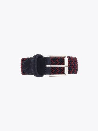 Anderson's Suede-Trimmed Elasticated Woven Belt Claret Navy Blue Front