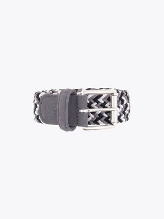 Anderson's Suede-Trimmed Elasticated Woven Belt White Black Grey Front