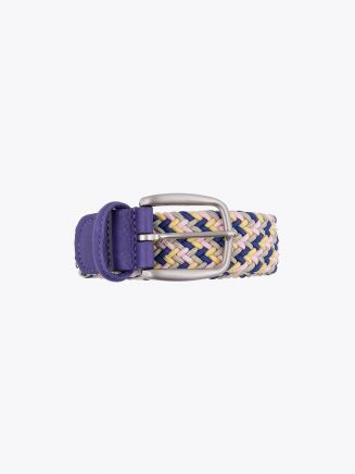 Anderson's Belt Braided Nylon/Leather Yellow/Blue/Pink/Gold Front