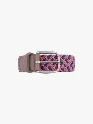 Anderson's Belt Braided Nylon/Leather Pink/Gold/Blue Front