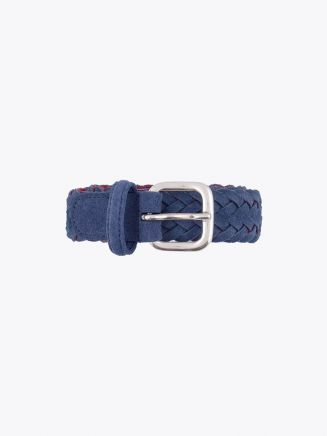 Anderson's Belt Braided Suede Leather Blue Front