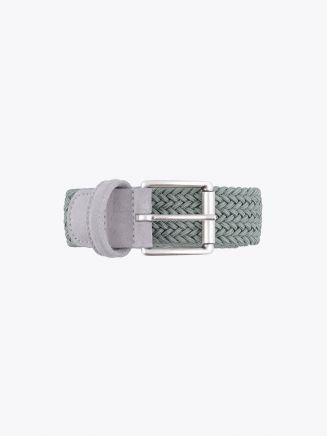 Anderson's Suede-Trimmed Elasticated Woven Belt Pale Green Front