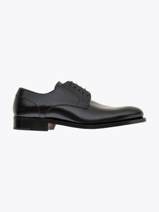 Alexander 1910 French Box Calf Leather Derby Shoes Black 1