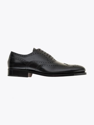 Alexander 1910 French Box Calf Leather Wingtip Brogues Shoes Black 1