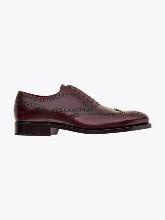 Alexander 1910 French Box Calf Leather Wingtip Brogues Shoes Bordeaux 1