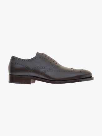 Alexander 1910 French Box Calf Leather Wingtip Brogues Shoes Dark Brown 1
