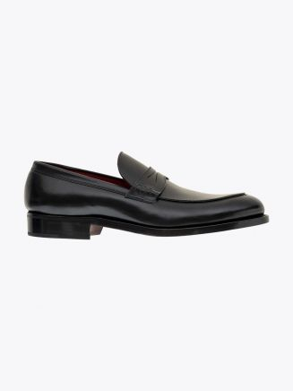 Alexander 1910 French Box Calf Leather Penny Loafers Shoes Black 1