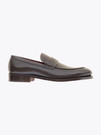 Alexander 1910 French Box Calf Leather Penny Loafers Shoes Dark Brown 1