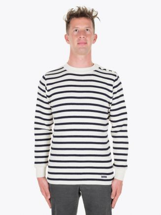 Armor-Lux Fouesnant Striped Sailor Sweater Nature/Rich Navy Full View