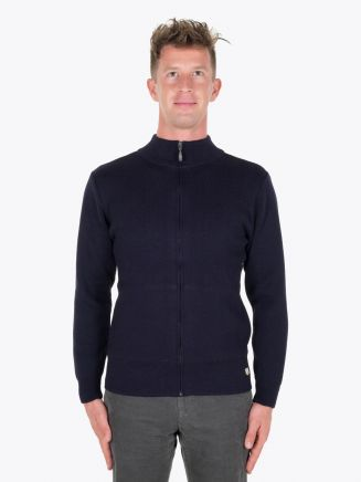 Armor-Lux Woolen Cardigan Heritage Rich Navy Full View