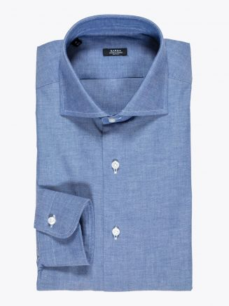 Barba Napoli Shirt Cutaway-Collar Cotton Chambray Dark Blue 1