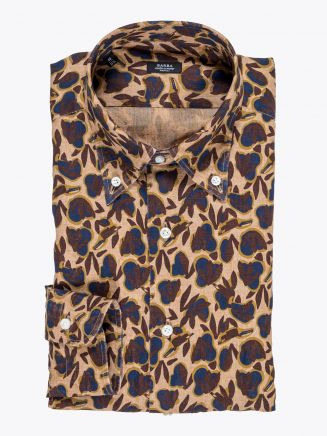 Barba Napoli Shirt Button-Down Collar Floral-Print Linen Brown 1