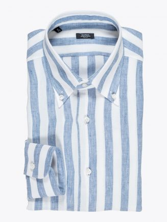 Barba Napoli Shirt Button-Down Collar Striped Linen Light Blue 1