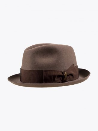 Borsalino Hat Small-Brimmed Alessandria Rabbit-Felt Light Brown