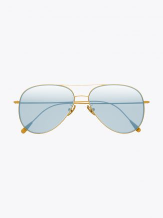 Cutler and Gross 1266 Aviator Sunglasses Gold Plated with Pale Light Blue Lens Front