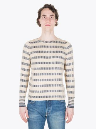 Double RL Boat Neck Pullover Cream/Blue Full View