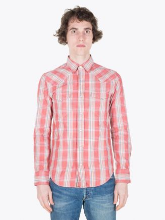 Double RL Buffalo Western Shirt LT WT Dobby Twill Flannel Red/Cream Full View
