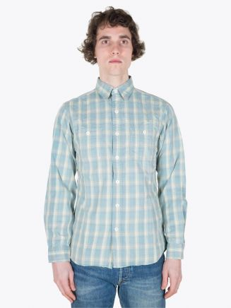 Double RL Farrell Work Shirt LT WT Indigo Flannel Check Blue/Cream Full View
