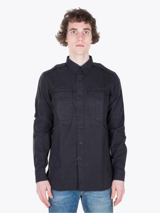 Double RL G.I. Military Army Twill Polo Black Full View