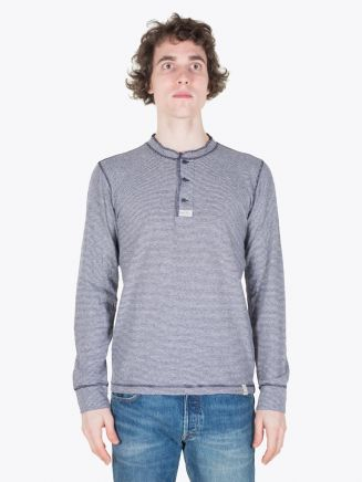 Double RL Long Sleeve Jeresy Henley Stripe Blue/White Full View