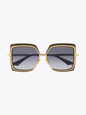 Dita Narcissus Square Sunglasses Black – Yellow Gold Front View