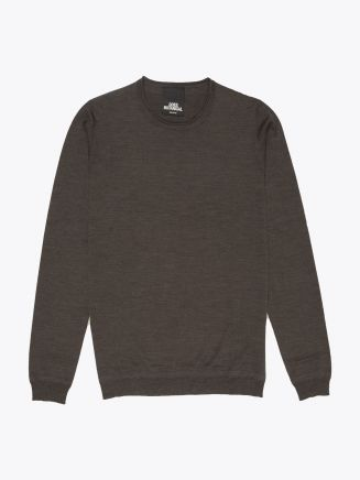 Goes Botanical | Wool Crew-Neck Sweater Black Front