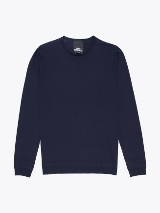 Goes Botanical | Wool Crew-Neck Sweater Navy Blue Front