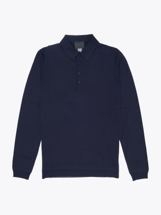 Goes Botanical Wool Polo-Shirt Navy Blue Front
