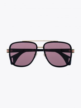 Gucci Rectangular Shape Sunglasses Black / Black 1