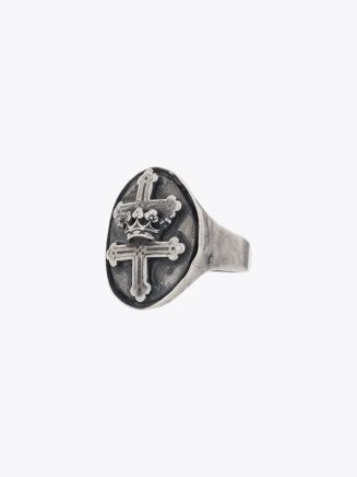 Goti Cross and Crown Engraved Chevalier Ring Sterling Silver 1