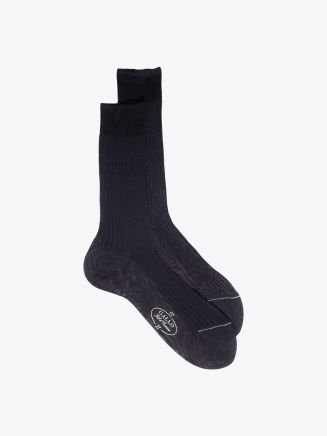Gallo Ribbed Cotton Short Socks Anthracite 1