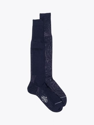 Gallo Long Socks Plain Wool Navy Blue 1
