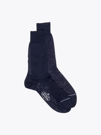 Gallo Short Socks Plain Wool Navy Blue