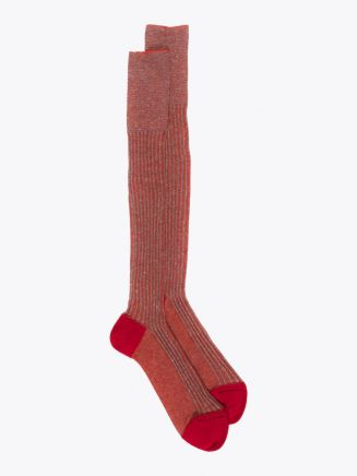 Gallo Long Socks Twin Ribbed Cotton Red 1