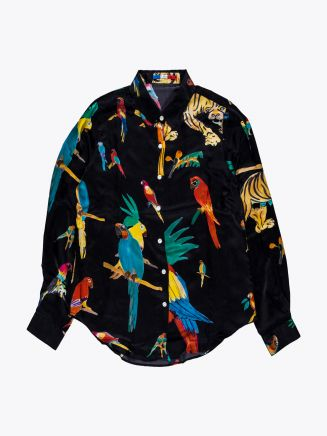 G.Kero Black Jungle Silk Shirt 1