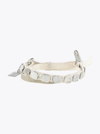 Goti Distressed Shield Bracelet White 1
