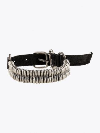 Goti Leather and Silver Bent Loops Bracelet 1