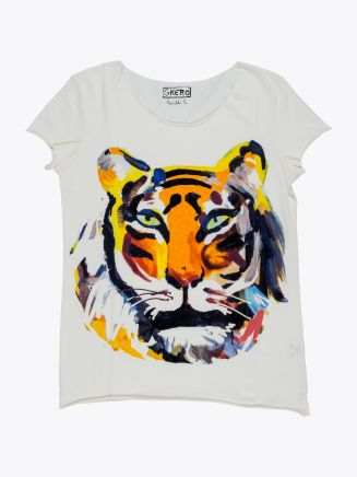 G.Kero Tiger Head Printed Cotton T-shirt 1